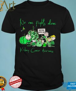Snoopy and Peanuts no one fights alone never give up kidney Cancer Awareness Halloween shirt